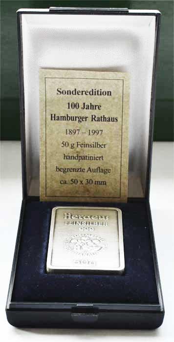 Silberbarren 50g Feinsilber 999 verschiedene
