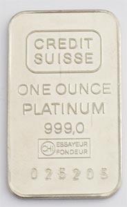 Platinbarren 1oz Feinplatin 999 Schweiz Credit Suisse