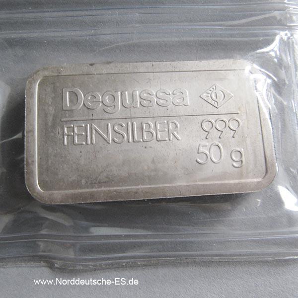 Silberbarren 50g Feinsilber 999