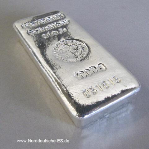 Silberbarren Heraeus 1 kg Feinsilber 999,9 gegossen