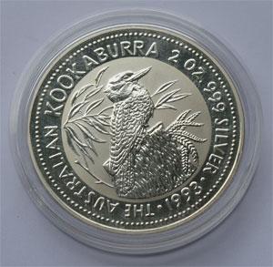 Australien Kookaburra 2oz Feinsilber 999 Doppelunze 62,2g