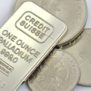 Palladium Barren und Münzen