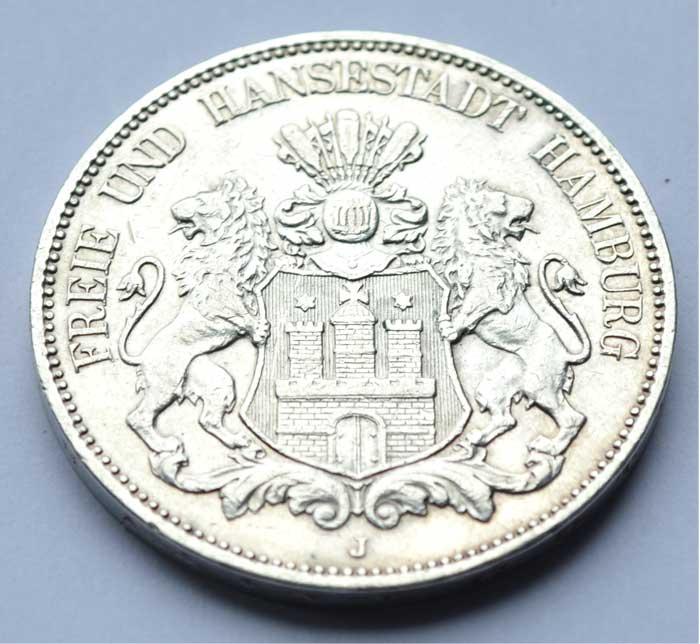 Deutschland 5 Mark Silber 1904 Freie und