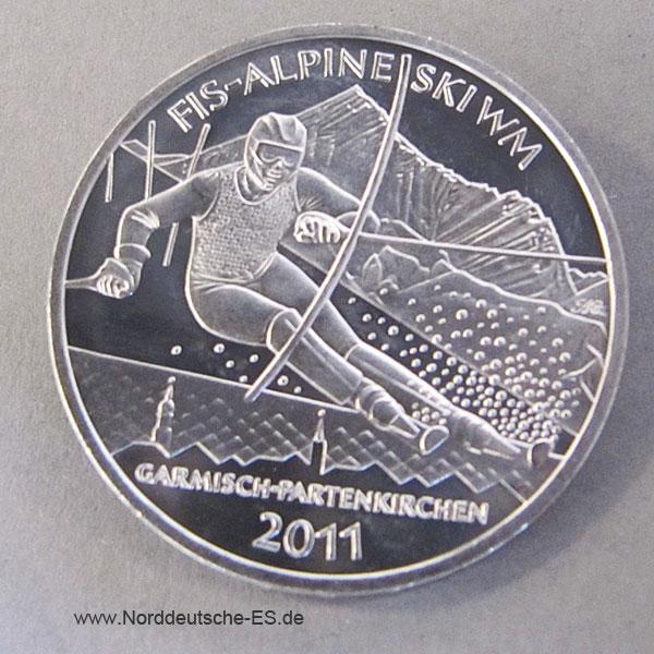 10 Euro Silbermuenze 2011 SkiWeltcup-Garmisch-Partenkirchen