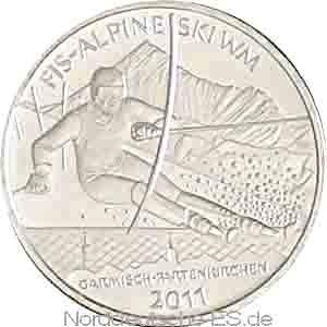 Deutschland 10 Euro Silber Gedenkmünze Ski WM 2011