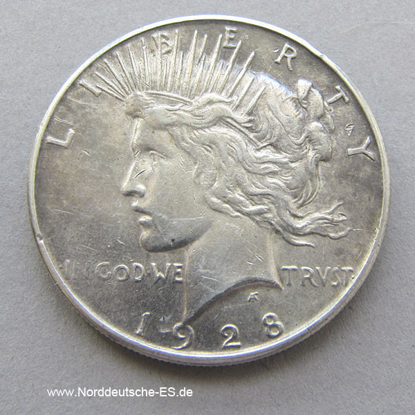 Usa 1928 Peace Dollar One Dollar Nes Edelmetallshop