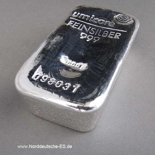 Silberbarren 1 kg Umicore Feinsilber