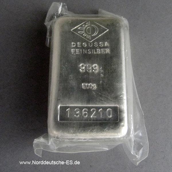 Silberbarren 500 Gramm historisch