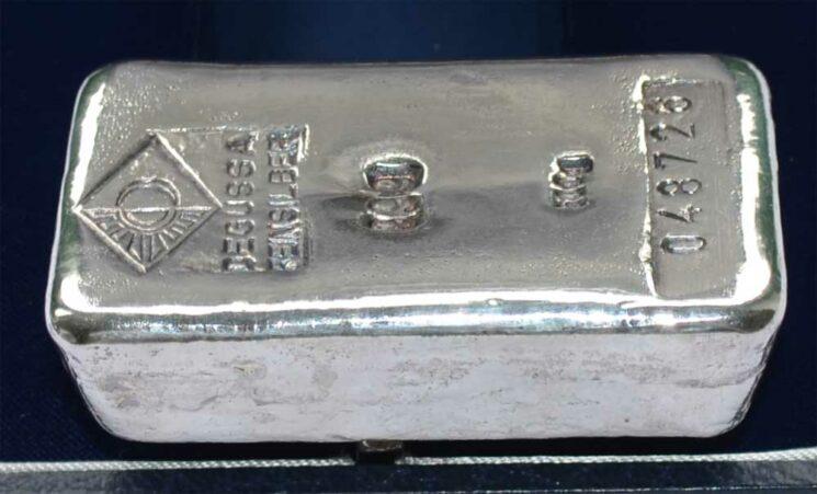 Silberbarren 500 Gramm, ehemalige echte Degussa, historisch
