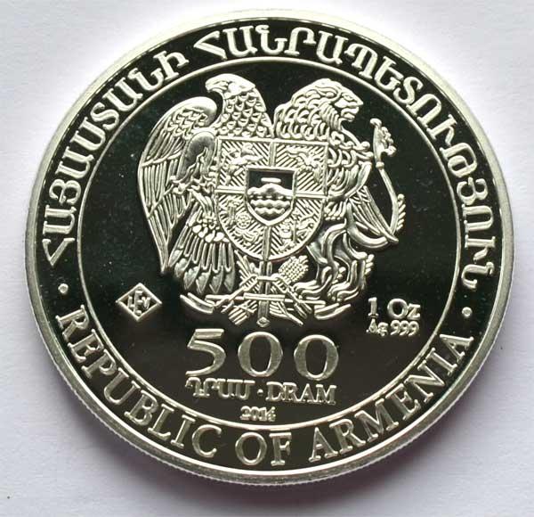 Armenien Republik 500 DRAM 1 oz Feinsilber 2014