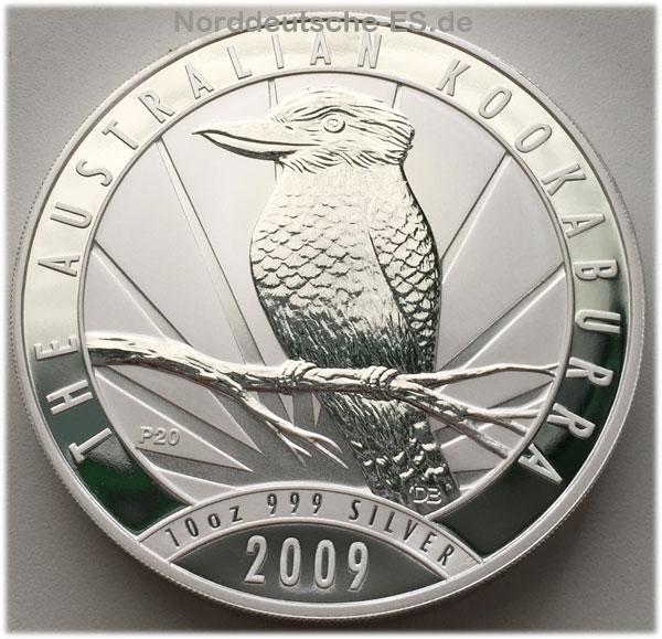 Australien Kookaburra 10 oz Feinsilber 999 Bullion 2009