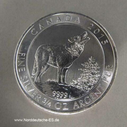 Kanada Silbermünze Grauwolf 2015