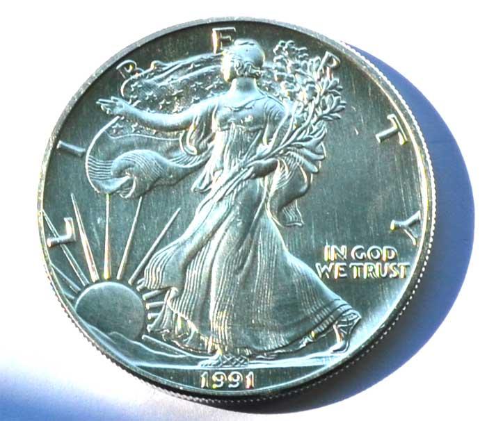 Usa 1 Dollar American Eagle 1 Oz Silber 1991 Nes