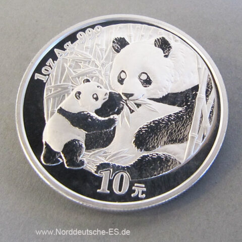 China Panda 10 Yuan 1 oz Feinsilber 999 Bullion Anlagesilber
