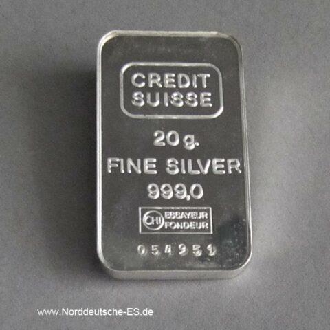 Silberbarren 20 g Feinsilber 999 Credit Suisse