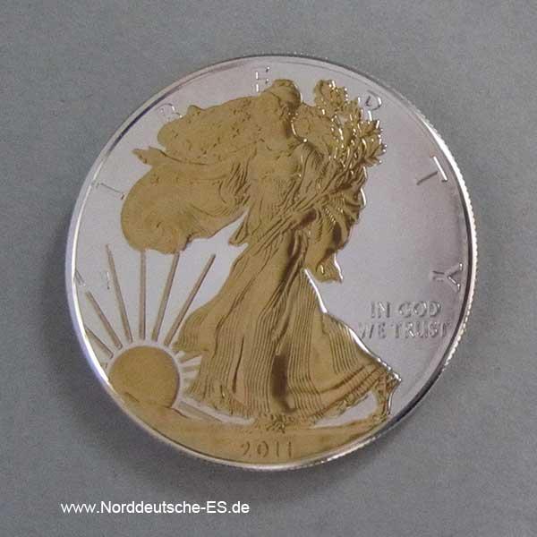Walking Liberty 1 oz Silber teilvergoldet