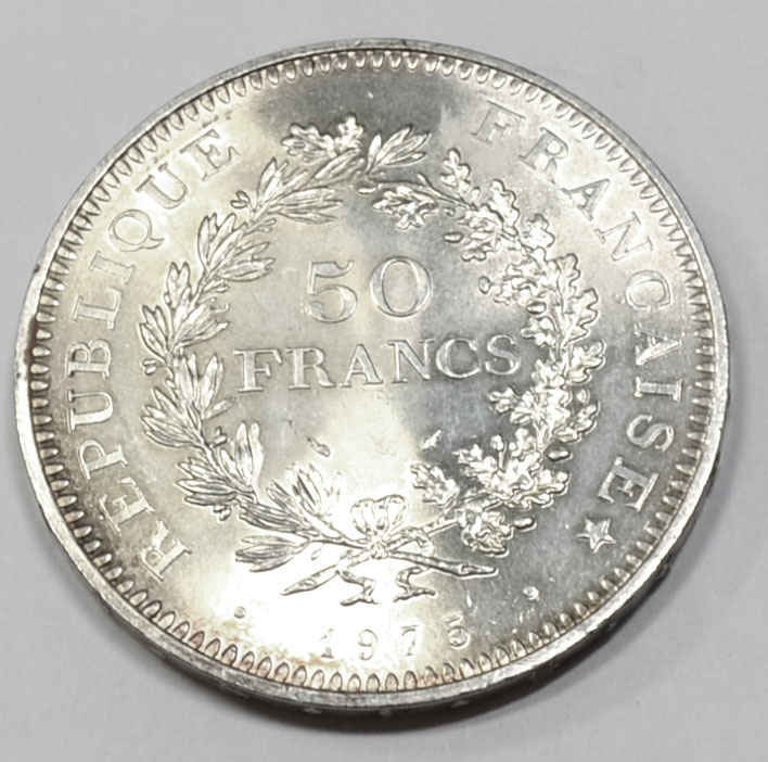 Frankreich 50 Francs Silbermuenze 1975