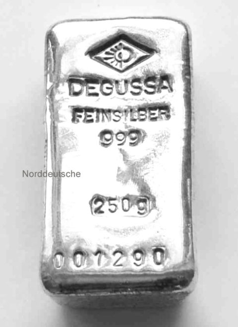 Degussa Silberbarren 250g historisch Feinsilber 999