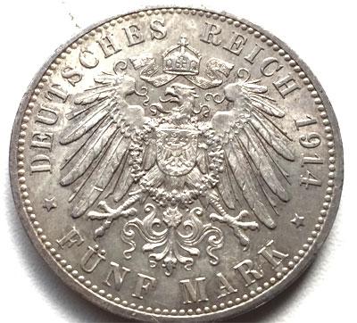 Deutsches Reich 5 Mark Silbermünze Kaiser Wilhelm Ii 1913 1914