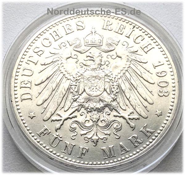 Kaiser-WilhelmII-5Mark-Silbermuenze-1903