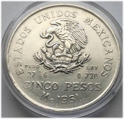 Mexico-1951-Silbermuenze-Cinco-Pesos-Hidalgo