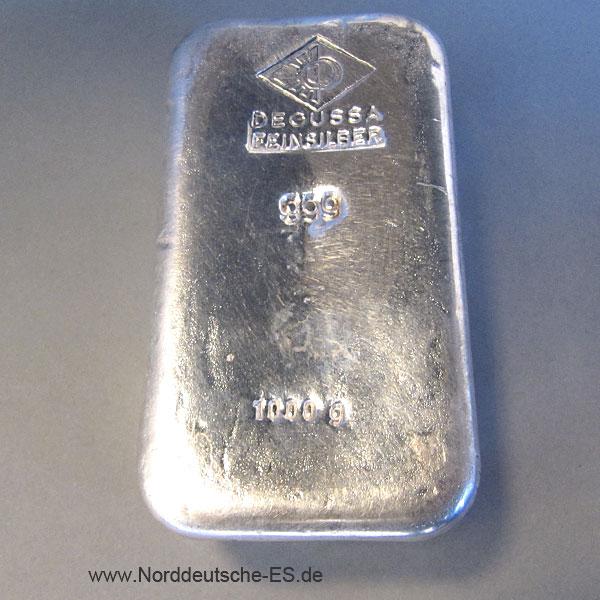 Silberbarren 1 kg Degussa 1000gramm sargform