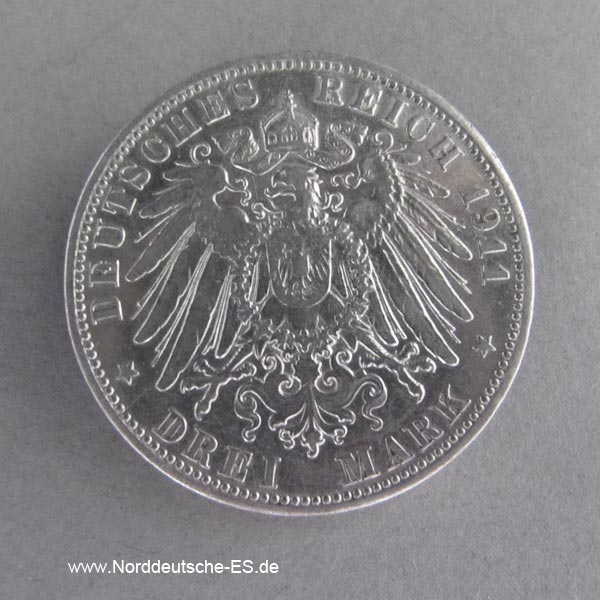 Deutsches Kaiserreich 3 Mark Hansestadt Hamburg