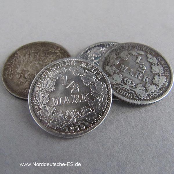 Deutsches Reich 1_2 Mark Silbermünze 1905-1919