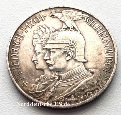 Deutsches Reich 2 Mark Friedrich Wilhelm II -1901 Silbermuenze