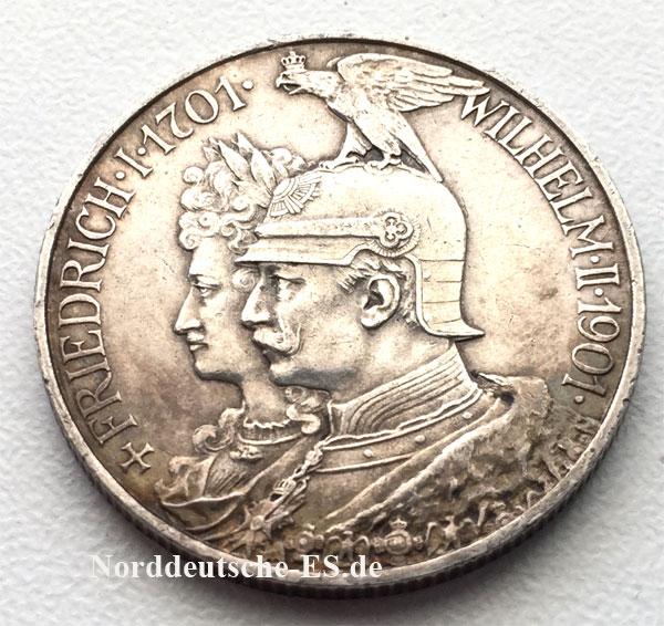 Deutsches Reich 2 Mark Friedrich Wilhelm Ii 1901 Silbermuenze Nes