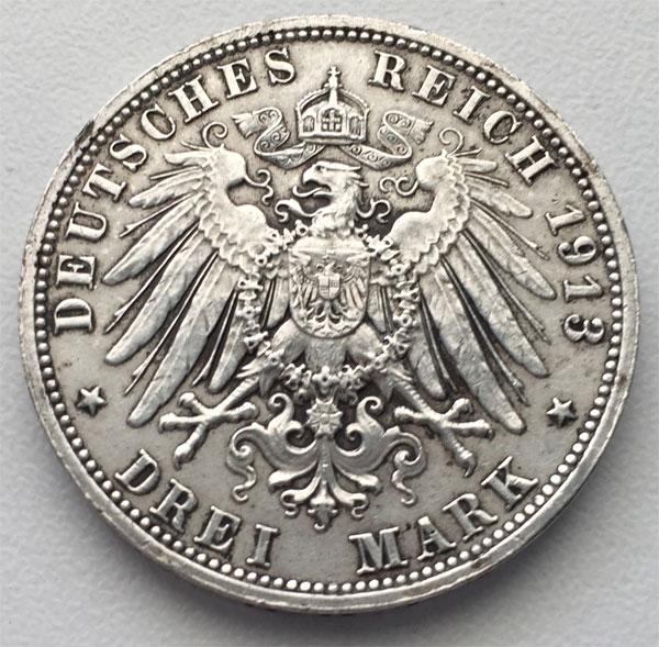 Deutsches Reich 3 Mark Silber Voelkerschlachtdenkmal