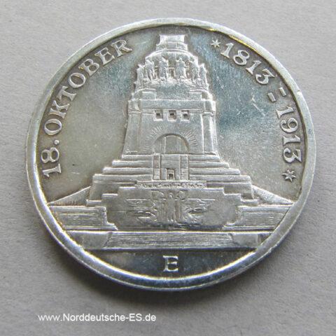 Deutsches Reich 3 Mark Silber Voelkerschlachtdenkmal 1813-1913