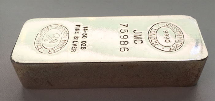 historischer Johnson-Matthey-14,5-Unzen-Feinilber-Barren 999