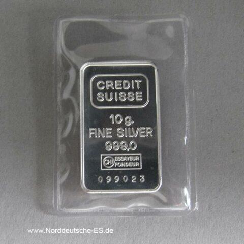 Silberbarren 10 Gramm 999 Feinsilber