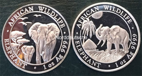 Somalia African Wildlife Elephants 1oz Feinsilber