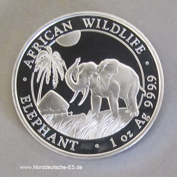 Somalia African Wildlife Elephants 1oz Silber 2017