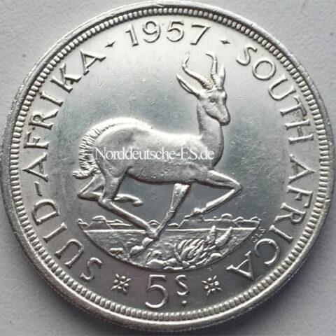 Sued Afrika 5 Shilling Springbok 1957 Silbermuenze