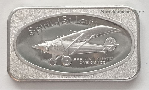 Silberbarren 1 oz Feinsilber 999 Spirit of St. Louis