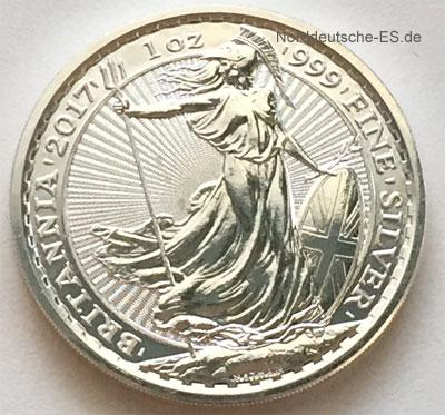 England Britannia Silbermuenze 2017 Feinsilber 1 oz Anlagesilber