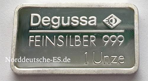 Silberbarren 1 oz Feinsilber 999 Degussa