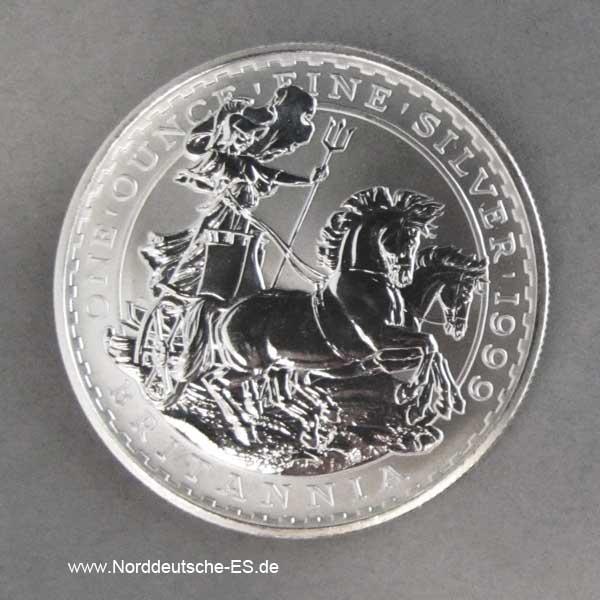 England Britannia 1 oz Silbermünze Pferdewagen Motiv