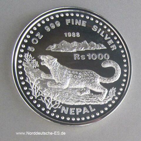 Nepal 5 oz Silber 1000 Rupien Snow Leopard 1988