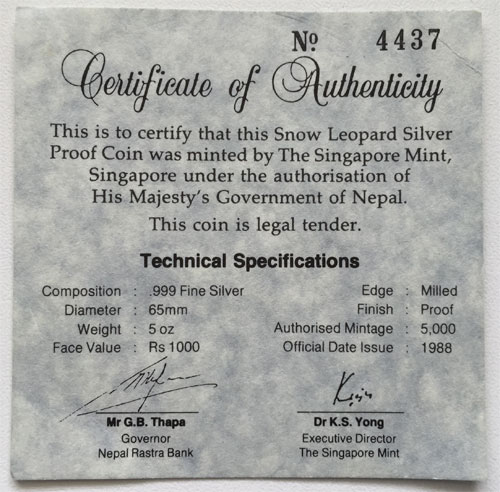 Nepal Zertifikat-Schneeleopard