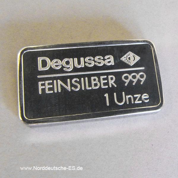 Silberbarren 1 oz Feinsilber 999 Degussa differenzbesteuerter Verkauf