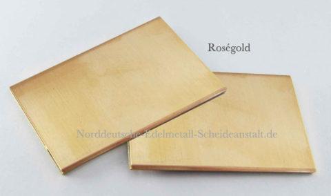 Goldblech 585er 14k Roségold 2mm stark 30x50mm