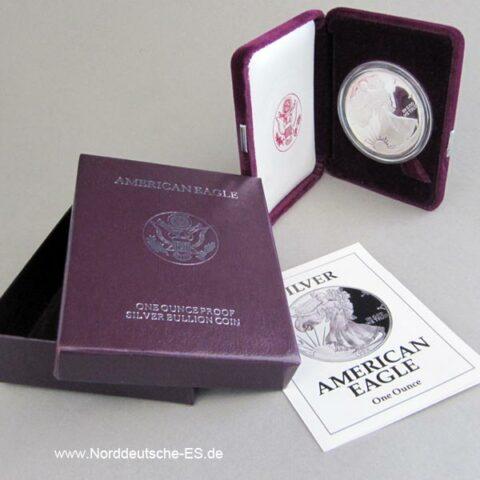 USA Silver American Eagle 1 oz Feinsilber Etui