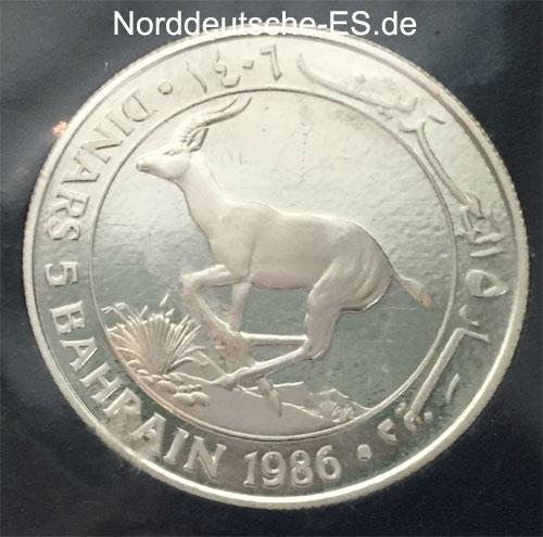 Bahrain 5 Dinars Silbermuenze 1986 Kropfgazelle - 25 Jahre WWF