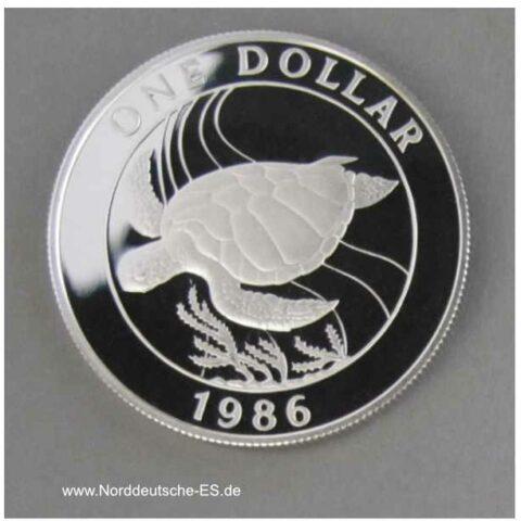 Bermuda 1 Dollar 1986 Schildkröte