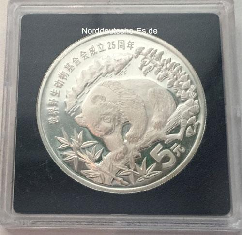 China Panda 5 Yuan Silbermuenze 1986