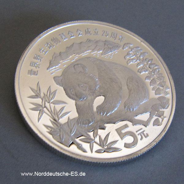 China Panda 5 Yuan Silbermünze 1986